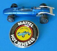 1969 HOT WHEELS INDIE EAGLE w BUTTON ~ VINTAGE REDLINE ~ BLUE ~ High Grade !!