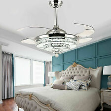 """Dimmable 42"""" Remote Invisible Ceiling Fan Lamp Led Chandelier Retractable Blades"""