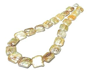 """Jumbo Square Rectangle Flat 24 pcs 17x19x7mm Cultured Peachy Pearls 17"""" Necklace"""