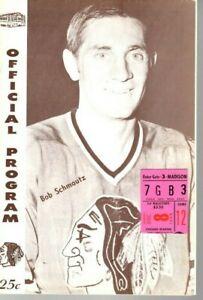 1968 12/8 Hockey program/ticket Boston Bruins @ Chicago Blackhawks,Hull 3 Goals