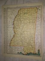 1942 Railroad Map of Mississippi With A Railroad Map of Minnesota On The Reverse