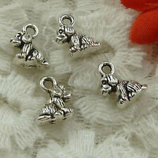 Free Ship 100 pieces Antique silver dog charms 11x7mm #1621