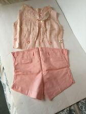 Vintage 1950s Girls Pink Ruffle Top W Attachable Shorts Playsuit Pleated