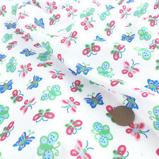 "Nursery Butterflies white Polycotton Fabric 44"" wide sold per half metre"