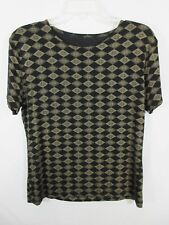Stretch Top Short Sleeve Size About M/L Black and Brownish Gold Diamond Design