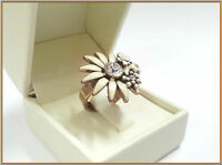 NEW PILGRIM GOLD RING CLEAR SWAROVSKI CRYSTALS WHITE ENAMEL DAISY FLOWERS RARE