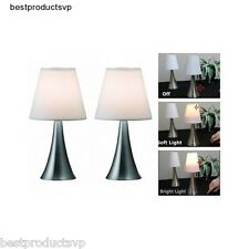 Modern Bedside Table Lamps Bedroom Touch Pair Reading Small Sensor Nickel Set