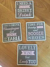 Shudehill Joe Davies Set of 6 Wooden Hearts Drink Coasters With Provence Grey...