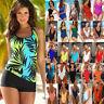 Womens Sporty Tankini Set Swimwear Crop Top Swim Shorts Bikini Bathing Swimsuit