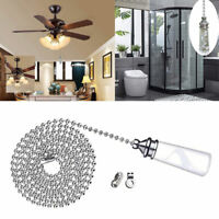 Bathroom Ceiling Light Switch Pull Cord String w/ Crystal Handle and Connector