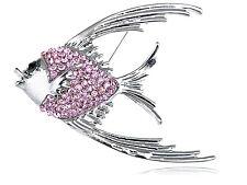 Tropical Angel Fish Brooch Pin Womens Silver Tone Light Pink Rhinestones