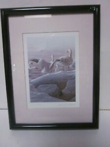 VINTAGE JEAN-LUC GRONDIN FRAMED PRINT TITLED SNOW GEESE