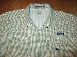 COLUMBIA Super Bonehead Brown Checked Omni-Shade Vented PFG Shirt Tag Sz XXL/2TG