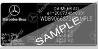 Mercedes BMW VW Ford Car VIN Number Fender Door Hood Engine Sticker Label Mark