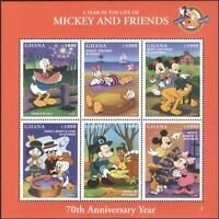 Ghana 1998 Disney/Mickey's 70th/Minnie/Donald/Cartoons/Animation 6v sht (b434a)