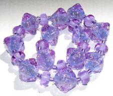 "Sistersbeads ""Magenta Blue"" Handmade Lampwork Beads"