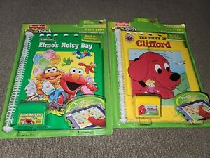 NEW LOT 2 FISHER PRICE POWER TOUCH BOOK AND CARTRIDGE ELMO'S NOISY DAY  CLIFFORD