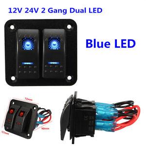 IP65 12V 24V 2-Gang Dual Blue LED Light Bar Car Marine Boat Rocker Switch Panel