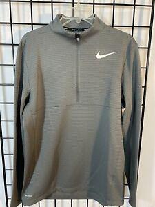 Nike Golf 1/2 Zip Mock Neck Pullover Men's M AeroReact Dri Fit Long Sleeve Gray