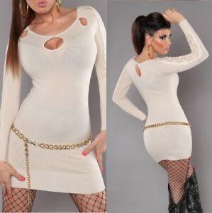 Koucla Strick Mini Kleid mit Spitze Long Pulli Pullover beige Gr. 34-36-38-40
