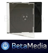 100 x Single Slim Jewel CD Cases with Black Tray - 5.2mm Slimline Spine covers