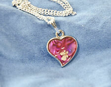 HAND MADE JEWELLERY,REAL FLOWERS  PENDANT-(PINK HEART)