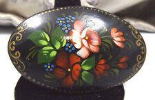 Russian Black Lacquer Floral Enamel Hand Painted Vintage Brooch Pin Costume