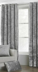 Verona Crushed Velvet Ready Made Lined Eyelet Curtains Silver W229 X L183cm
