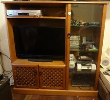Funky Large Sturdy TV Cabinet - Pine Wood & Glass