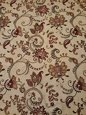 "2 Panels Curtains Drapes Jacobean Floral Paisley Beige Burgundy 84x51"" fabric"