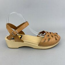Toffel Hasbeens Swedish Clog Tan Leather Slingback Summer Holiday Sandals 40 UK7