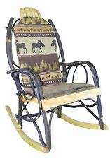 Amish Hickory Rocking Chair Pad Cushion Set in Brown Moose Fabric