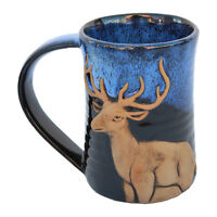 "MUGS - ""MAJESTIC DEER"" HANDMADE POTTERY MUG - BLUE ON BLACK - 3D TANKARD - LODGE"