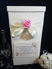 Wedding Card Post Box Ivory Personalised Antique Pink Rose Flower Gift Well