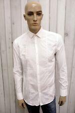 Camicia HUGO BOSS Uomo Taglia L Bianco Cotone Chemise Shirt Casual Manica Lunga