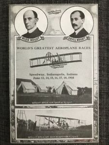 Indianapolis Motor Speedway postcard Wright Brothers airplane race IMS 1910 fly