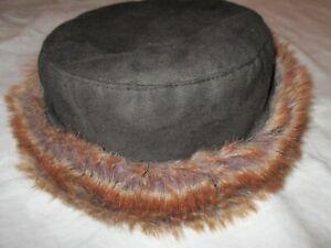 Warmer Hut Mütze Damenhut schwarz/braun, Textil Wildleder-Optik Rand Kunstpelz