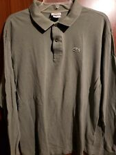 Men's LACOSTE Green Long Sleeve Polo Shirt Size FR 7 / XL
