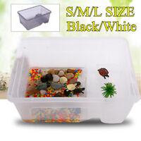 Reptile Turtle Plastic Clear Breeding Feeding Box Aquarium Tank Platform S/M/L