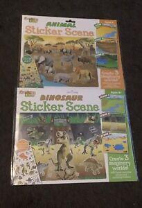 2 Kreative Kids Dinosaur And Animal Reusable Sticker Scenes . Size 28cm X 23cm