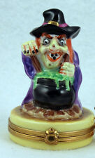 New French Limoges Trinket Box Scary Halloween Witch Making Magic Potion