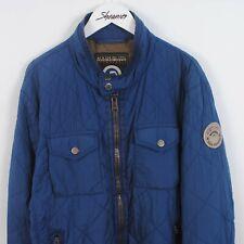 Mens Napapijri Quilted Field Jacket Windbreaker w/ Patch In Blue Size XL X-Large