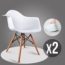 Set of 2 Mid Century Molded Eames Style Dining Arm Chair Shell Armchair Wood Leg