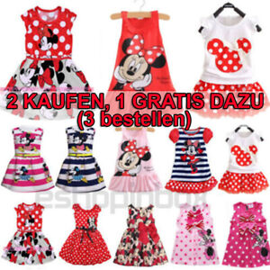 Kind Mädchen Tunika Kleid Minnie Mickey Mouse Maus Sommer Freizeit Partykleider