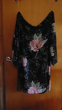 Samya Plus Size Off Shoulder L/Sleeved Floral Dress UK 22 Black Mix BNWT