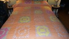 "Antique Quilt Shoo Fly Pattern, Pale Orange Lattice,Pastel Blocks,88""x68"""