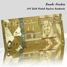 WR Saudi Arabia 2016 500 Riyals Colours 24K Gold Plated Banknote Rare Collection