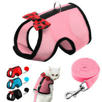 Cat Walking Jacket Harness&Lead Small Dog Pet Puppy Mesh Vest Blue Pink Red S-L