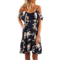 Womens Holiday Off Shoulder Floral Party Ladies Summer Beach Short Mini Dress