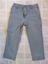 Thrashed CARHARTT Dungaree PANTS 34x30 Green Carpenter Utility Crust Punk Patch
